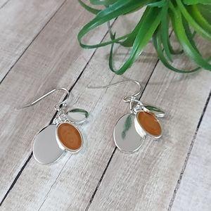 E1749 Minimalist Layered Oval Drop Earrings